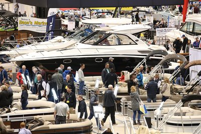 Large boats at the Chicago Boat Show